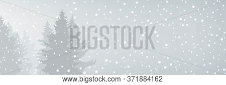 Winter Banner With Snowfall In The Forest, Fir Trees In Winter In Snowfall, Christmas Winter Landsca