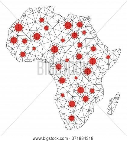 Polygonal Mesh Africa Map With Coronavirus Centers. Abstract Network Lines, Triangles And Covid Viru
