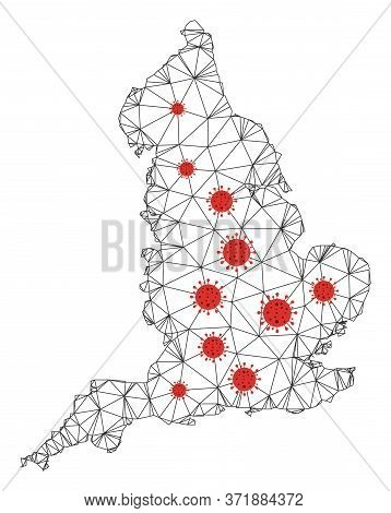 Polygonal Mesh England Map With Coronavirus Centers. Abstract Mesh Lines, Triangles And Covid Viruse