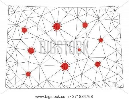 Polygonal Mesh Colorado State Map With Coronavirus Centers. Abstract Network Lines, Triangles And Co