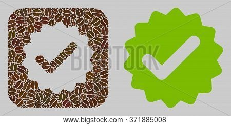Mosaic Best Medallion With Coffee Beans And Basic Icon. Stencil Mosaic Best Medallion Is Formed With