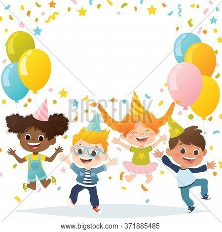 Vector Set Of Cartoon Multiracial Kids Jumping And Laughing On Party. Invitation Card Design.