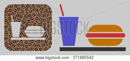 Mosaic Fastfood Of Coffee Beans And Basic Icon. Negative Space Mosaic Fastfood Is Designed Of Coffee