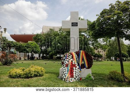 Bucharest, Romania - June 13, 2020: The 13-15 June 1990 Mineriad Monument In The University Square.