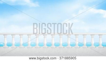 White Marble Balustrade On Balcony With Tiled Floor And Overlooking To Sea. Stone Handrail In Classi