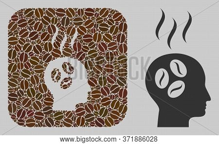 Mosaic Coffee Dream Head From Coffee Beans And Basic Icon. Hole Mosaic Coffee Dream Head Is Composed