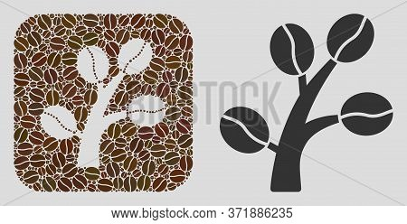 Mosaic Coffee Tree From Coffee Beans And Basic Icon. Negative Space Mosaic Coffee Tree Is Composed W