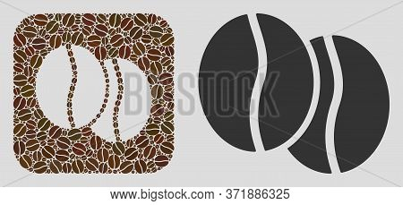 Mosaic Coffee Beans With Coffee Beans And Basic Icon. Hole Mosaic Coffee Beans Is Formed With Coffee
