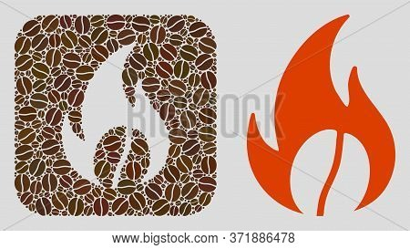 Mosaic Roasted Coffee Of Coffee Beans And Basic Icon. Negative Space Mosaic Roasted Coffee Is Formed