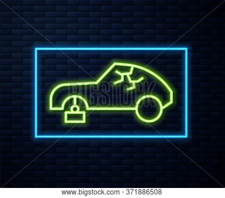 Glowing Neon Line Broken Car Icon Isolated On Brick Wall Background. Car Crush. Vector
