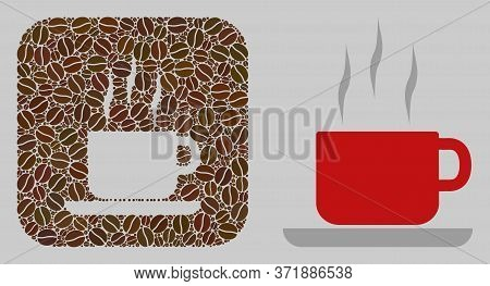 Mosaic Coffee Break Of Coffee Beans And Basic Icon. Subtraction Mosaic Coffee Break Is Designed With