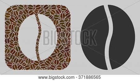 Mosaic Coffee Bean From Coffee Beans And Basic Icon. Subtraction Mosaic Coffee Bean Is Designed From