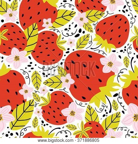 Hand Drawn Seamless Pattern With Berries And Strawberry Flowers With Leaves On A White Background. S