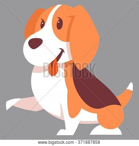 Beagle Dog Giving Paw. Cute Pet In Cartoon Style.