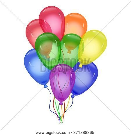 Lgbt Colorful Balloons Isolated On White Background. Helium Balloons Composition In National Colors