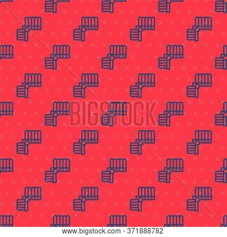 Blue Line Indian Headdress With Feathers Icon Isolated Seamless Pattern On Red Background. Native Am