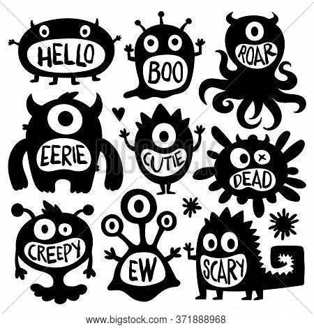 Flat Black And White Design Style Cartoon Vector Illustration Set Of Cute Monsters Vectors. Scary Sp