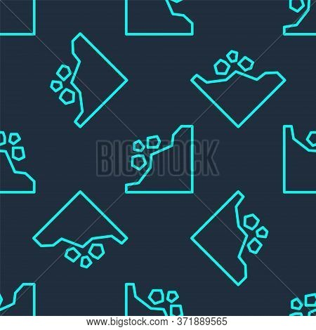 Green Line Landslide Icon Isolated Seamless Pattern On Blue Background. Stones Fall From The Rock. B