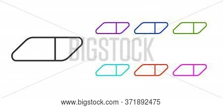 Black Line Eraser Or Rubber Icon Isolated On White Background. Set Icons Colorful. Vector