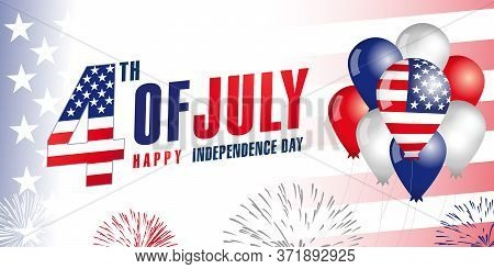 4th of July, independence day United States of America, balloons & flag banner. Special offer sale from Fourth of July USA, weekend discount. Vector Illustration