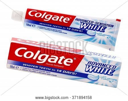 Bucharest, Romania - February 06, 2017. Colgate Toothpaste, Advanced Sensation White, Isolated On Wh