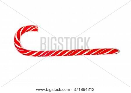 Christmas Candy Cane Isolated On White Background. Red Candy Cane. Red Candy Of New Year
