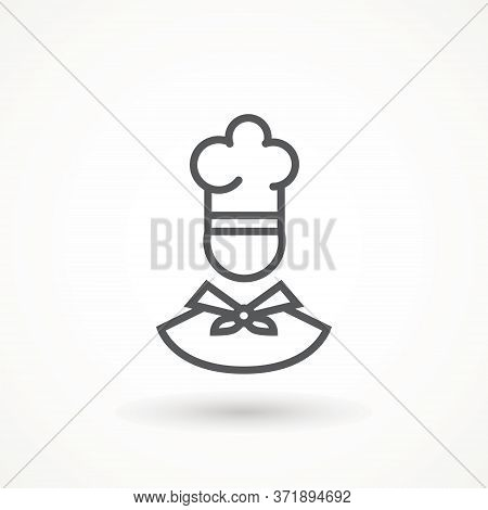 Chef In A Cooking Hat Vector Outline Logo. Kitchen Cook Icon Line Symbol. Premium Quality Isolated V