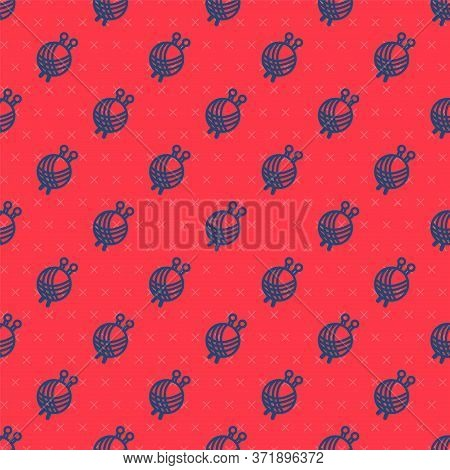 Blue Line Yarn Ball With Knitting Needles Icon Isolated Seamless Pattern On Red Background. Label Fo