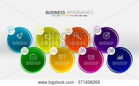Business Infographic Element With 8 Options. Can Be Used For Info Graphics, Flow Charts, Presentatio