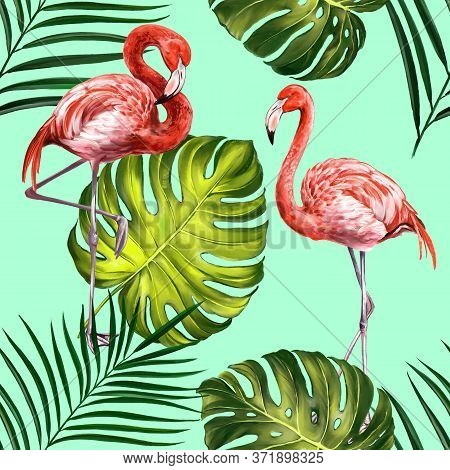 Flamingos With Tropical Leaves, Beautiful Seamless Floral Summer Pattern Background, Textures, Texti