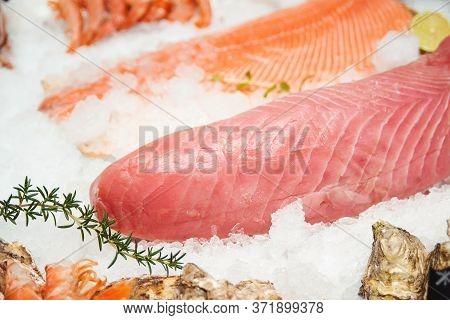 Fresh Tuna Filet On Display. Fish Market, Showcase With Fish. Retail Sale, Marketplace. Fresh Fish F