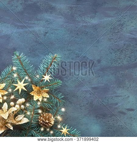 Christmas Or New Year Flat Lay Square Background On Textured Board With Text Space. Top View, Flat L