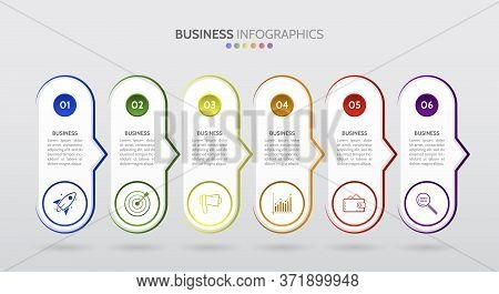 6 Horizontal Arrows Workflow Steps. Business Process Graph, Step To Success Diagram And Arrow Timeli