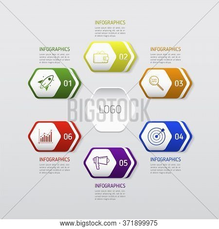 Template сircle Chart Infographic Template With 6 Options For Presentations, Advertising, Layouts, C