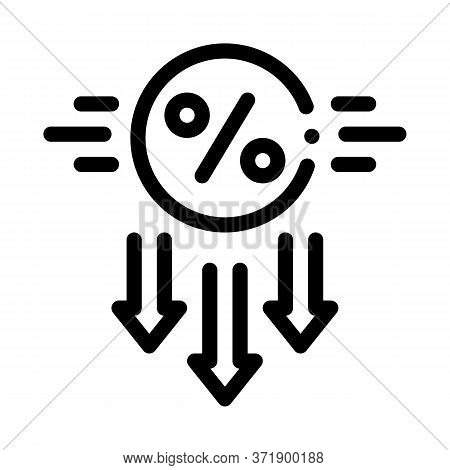 Falling Interest Down Icon Vector. Falling Interest Down Sign. Isolated Contour Symbol Illustration