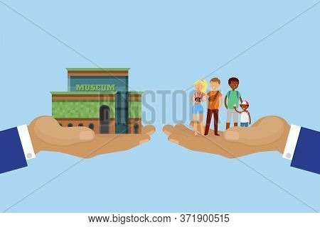 Tourism Concept, Tour, Hand With Museum And Tourists, Travel On City Architecture, Design, Cartoon S