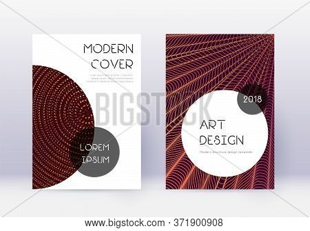 Trendy Cover Design Template Set. Orange Abstract Lines On Wine Red Background. Graceful Cover Desig