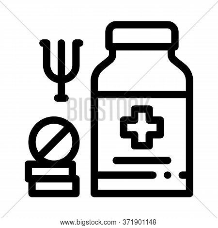 Medical Pills For Mental Disorder Icon Vector. Medical Pills For Mental Disorder Sign. Isolated Cont