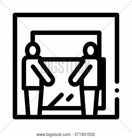 Freight Movers Hold Glass Icon Vector. Freight Movers Hold Glass Sign. Isolated Contour Symbol Illus