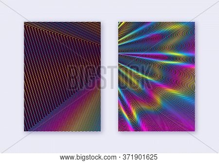 Cover Design Template Set. Abstract Lines Modern Brochure Layout. Rainbow Vibrant Halftone Gradients