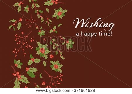 Wishing Happy Time Banner Card, Vector Illustration. New Year Symbol Branch, Merry Xmas Festive Back