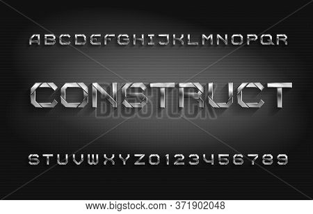 Construct Alphabet Font. Metal Effect Letters And Numbers With Shadow. Abstract Background. Stock Ve