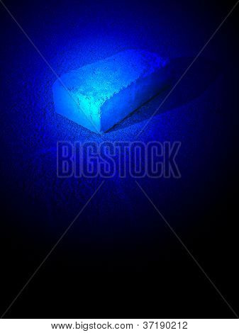 Magic Blue Light Over Brick With Silhouette On Asphalt, Unknown Science