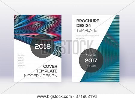 Modern Cover Design Template Set. Red Abstract Lines On White Blue Background. Fabulous Cover Design