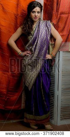 The Young Dark-haired Woman In The Rich Indian Saris Standing Akimbo On The Background Screen Decora
