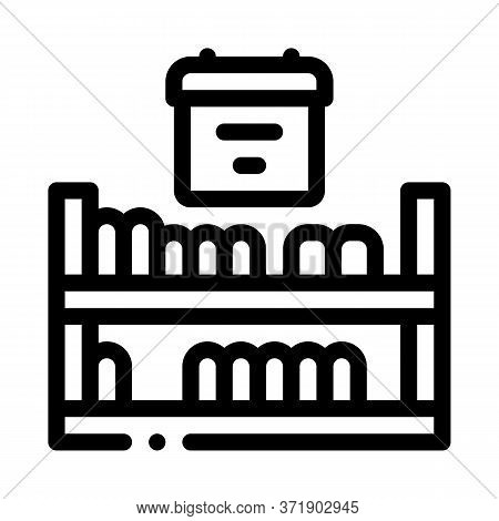 Cheese Shelf Counter Icon Vector. Cheese Shelf Counter Sign. Isolated Contour Symbol Illustration