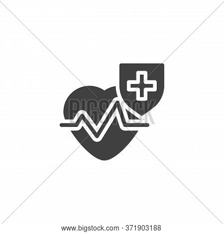 Healthcare Insurance Vector Icon. Filled Flat Sign For Mobile Concept And Web Design. Cardiology Hea