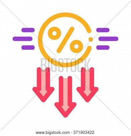 Falling Interest Down Icon Vector. Falling Interest Down Sign. Color Symbol Illustration