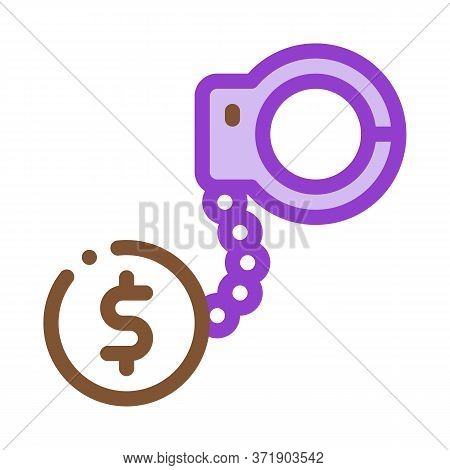 Jail Or Freedom For Money Bail Icon Vector. Jail Or Freedom For Money Bail Sign. Color Symbol Illust