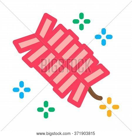 Lighted Cracker Icon Vector. Lighted Cracker Sign. Color Symbol Illustration